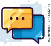 blue and yellow chat vector icon | Shutterstock .eps vector #1445332448
