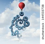 Stock photo education plan and training strategy concept as an organized group of gears and cog wheels shaped 144533738
