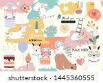 colorful hand drawn cute card... | Shutterstock .eps vector #1445360555