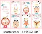 collection of boho cards set... | Shutterstock .eps vector #1445361785