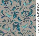 seamless pattern with birds ... | Shutterstock . vector #1445373668