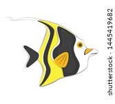reef fish in paper art style.... | Shutterstock .eps vector #1445419682