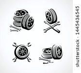 car wheels collection set.... | Shutterstock .eps vector #1445436545