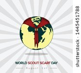 World Scout Scarf Day Vector Design with earth and scarf icon