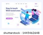 isometric landing page design... | Shutterstock .eps vector #1445462648
