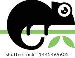 chameleon black silhouette... | Shutterstock .eps vector #1445469605