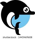 dolphin black silhouette vector ... | Shutterstock .eps vector #1445469608