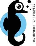seahorse black silhouette... | Shutterstock .eps vector #1445469632