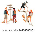 direction pointer and mountain... | Shutterstock .eps vector #1445488838