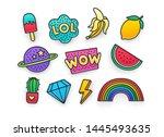 enamel pin  clothing patch  pin ... | Shutterstock .eps vector #1445493635