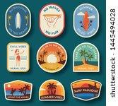 set of nine beach badges. hand... | Shutterstock .eps vector #1445494028