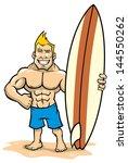 smiling muscle surfer posing...   Shutterstock .eps vector #144550262