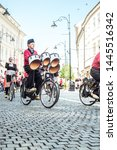 Small photo of Sibiu City, Romania - 14 June 2019. Crescendo Opende Bicycle Band from Netherlands performing at the Sibiu International Theatre Festival from Sibiu, Romania.