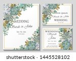 wedding invitation leaves and... | Shutterstock .eps vector #1445528102