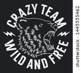 bear head. crazy team... | Shutterstock .eps vector #1445555462