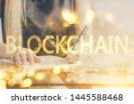 cryptocurrency hologram over...   Shutterstock . vector #1445588468