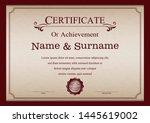 certificate or diploma vintage... | Shutterstock .eps vector #1445619002