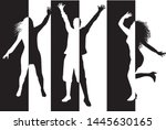 dancing people silhouettes.... | Shutterstock .eps vector #1445630165