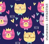 seamless pattern with cats and... | Shutterstock .eps vector #1445635565