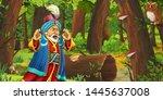 cartoon scene with happy young...   Shutterstock . vector #1445637008