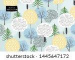 cute vector pattern of winter... | Shutterstock .eps vector #1445647172