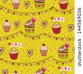 colorful love cupcakes ... | Shutterstock .eps vector #144569036