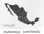 black silhouette of mexico map... | Shutterstock .eps vector #1445704352