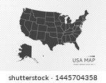 black silhouette of united... | Shutterstock .eps vector #1445704358