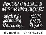 hand drawn typeface on black... | Shutterstock .eps vector #1445762585