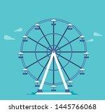 Ferris Wheel In The Flat Style...