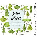 vector illustration with trees. ... | Shutterstock .eps vector #1445776385