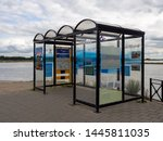 Small photo of Tiel, Gelderland / Netherlands - 07 08 2019: Shelter for the ferry called Pomona. This ferry is for people and bicycles to get across the river called de Waal, from Tiel to a city called Wamel.
