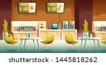 Stock vector city cafeteria fast food cafe mall food court restaurant cartoon vector empty interior with 1445818262