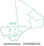 mali green line map vector | Shutterstock .eps vector #1445836232