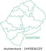lesotho green line map vector | Shutterstock .eps vector #1445836235