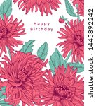floral card with isolated hand... | Shutterstock .eps vector #1445892242