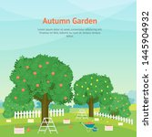 cartoon autumn garden card... | Shutterstock .eps vector #1445904932