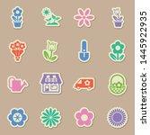 flowers color sticker vector...