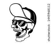 skull in baseball cap and sun... | Shutterstock .eps vector #1445968112