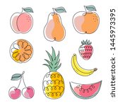 Set Of Fruits Icons On White...