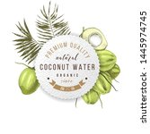 Cococnut Water Label Over Hand...