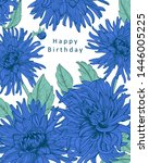 floral card with isolated hand... | Shutterstock .eps vector #1446005225