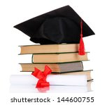 grad hat with diploma and books ... | Shutterstock . vector #144600755