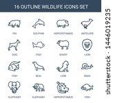 16 wildlife icons. trendy... | Shutterstock .eps vector #1446019235