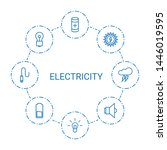 8 electricity icons. trendy... | Shutterstock .eps vector #1446019595