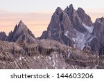 Small photo of Mountain peaks in alpenglow in dolomites