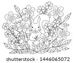 abstract coloring page with... | Shutterstock .eps vector #1446065072