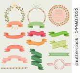 simple vector ribbons  wreaths... | Shutterstock .eps vector #144607022