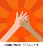help hand charity or hi five on ... | Shutterstock .eps vector #144613475