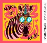 zebra illustration tee graphic... | Shutterstock .eps vector #1446158318